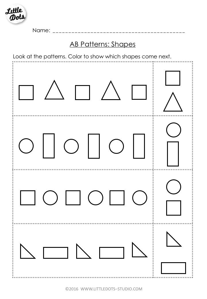 Free AB Pattern Worksheet for prek. Continue the AB