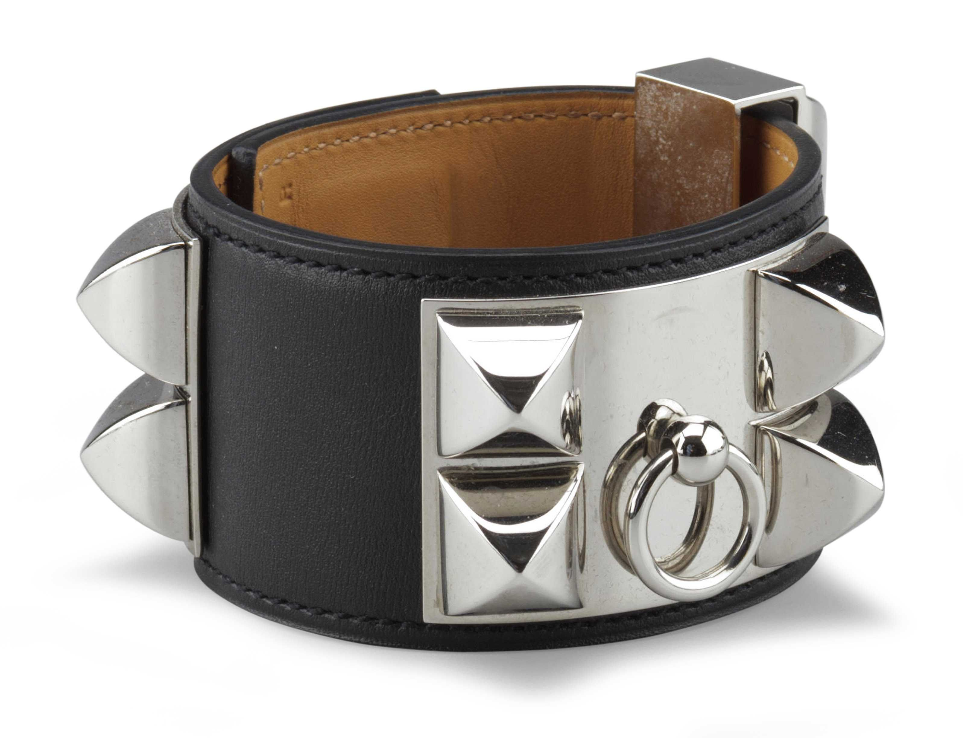 hermes fauve leather tadelakt bracelet de chien c small collier