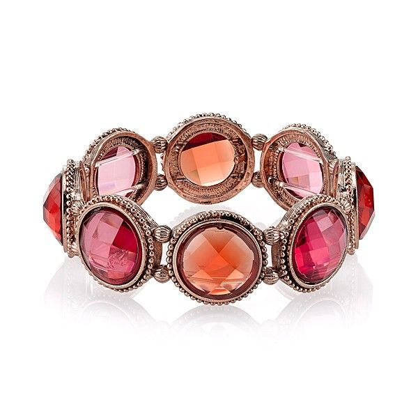 Покупайте в любых интернет-магазинах вместе с LiteMF!  This raspberry and coral color stretch bracelet is perfect from day to night. Faceted round stones are connected on a textured copper-tone base that fits comfortably on your wrist. Stack them up or mix and match.