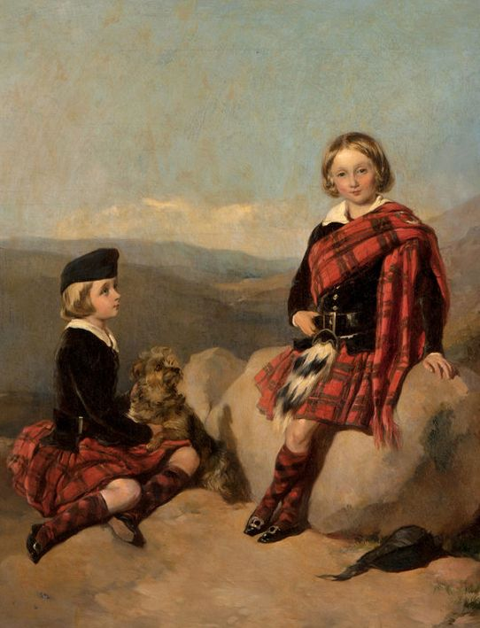 Antique painting of two children in the highlands by the artist James Currie.