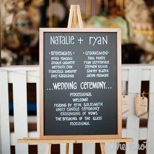 Sweet and simple chalkboard program #wedding