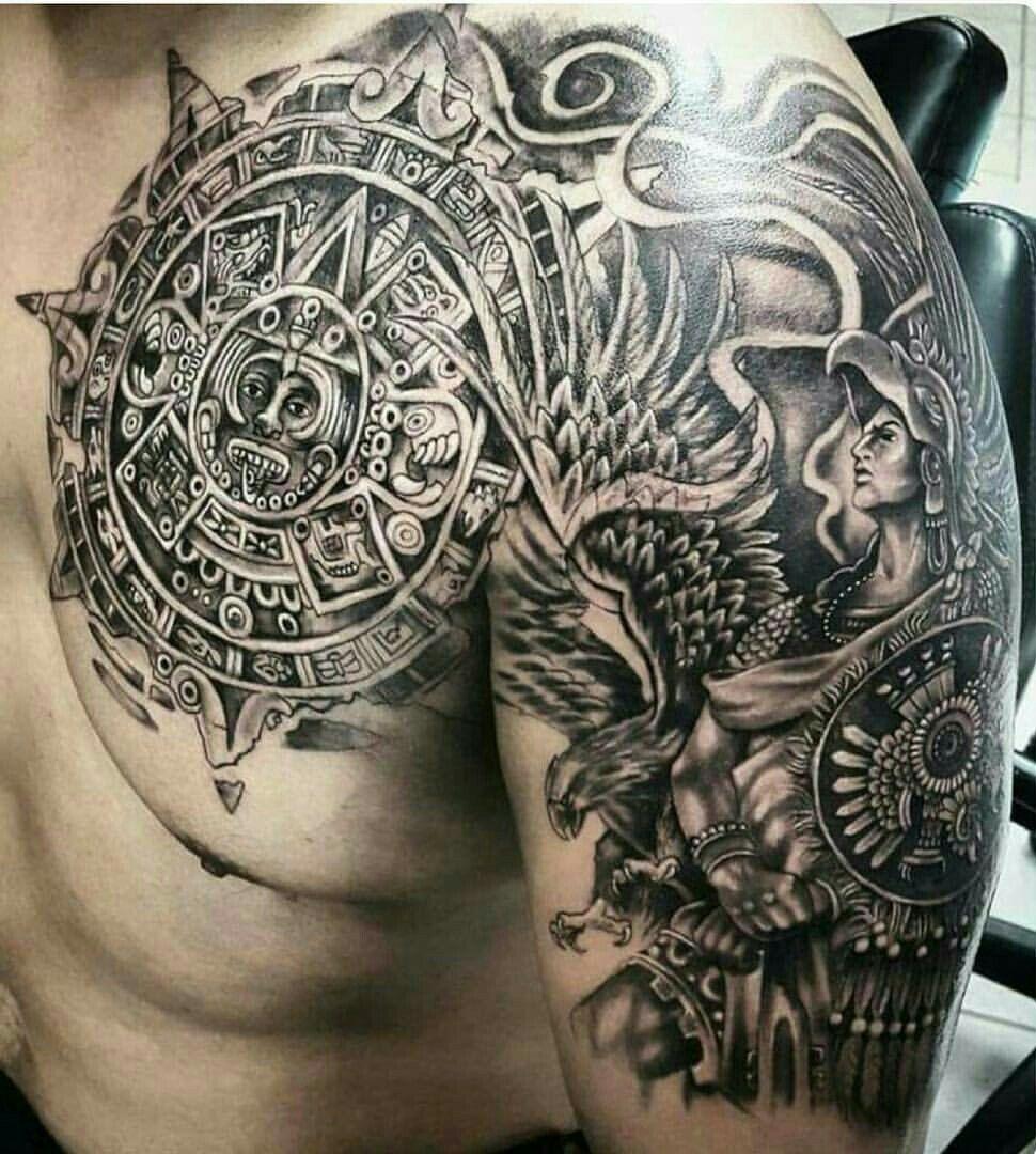 Pin By Oleg Kokon On Chicano Tattoo Fonts Art Aztec Tattoo Aztec Tattoo Designs Mens Shoulder Tattoo
