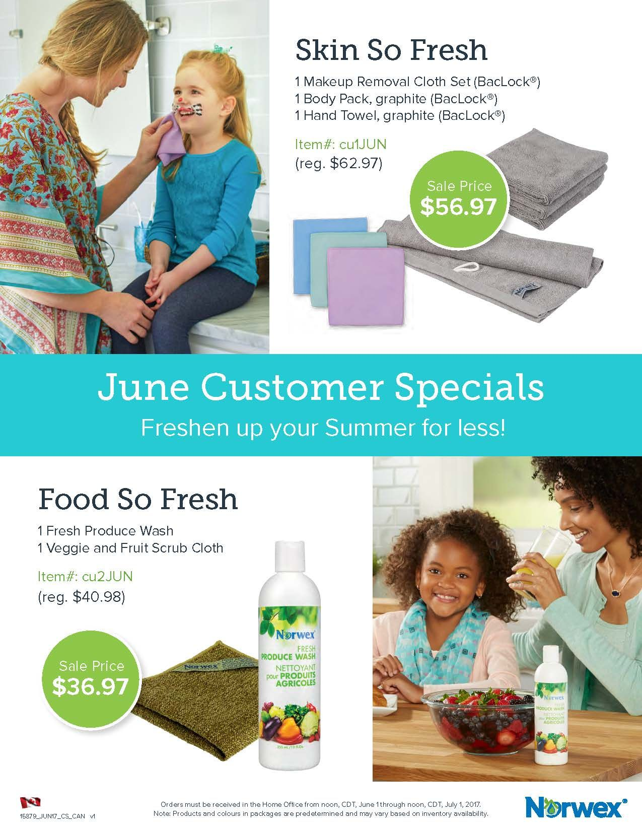 Norwex Canada June Customer Specials. Monthly specials are