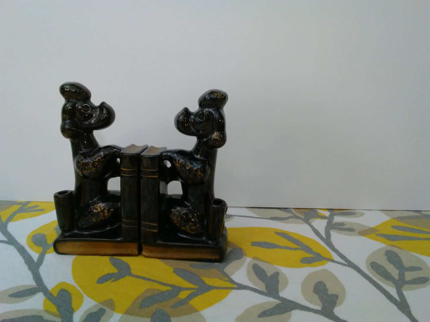 Vintage Poodle Bookends - Japanese Redware Poodles w/ Books & Pen Holder Desk Accessory Office Decor - 1950s 1960s by ShipyardMillies on Etsy