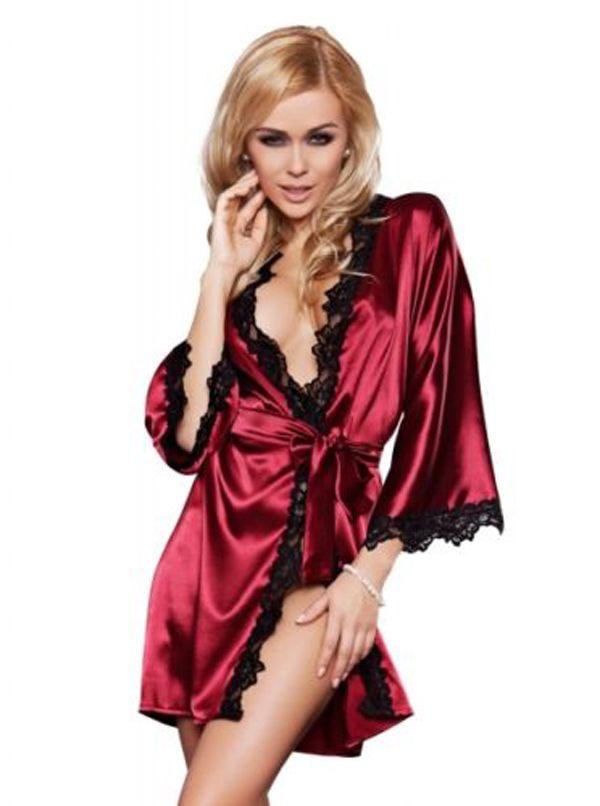 Luxus Frauen Nachtwäsche Satin Spitze Morgenmantel Bademantel Kimono ...
