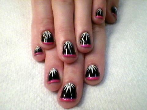 Pink Tip Lunula Explosion Design Using Cnd Shellac Gel Polish Fingernail Designs Crystal Nails Fun Nails