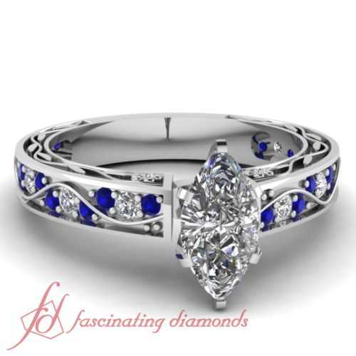 1 Ct Marquise Cut Diamond Blue Sapphire Engraved Engagement Ring Pave Set SI1 | eBay