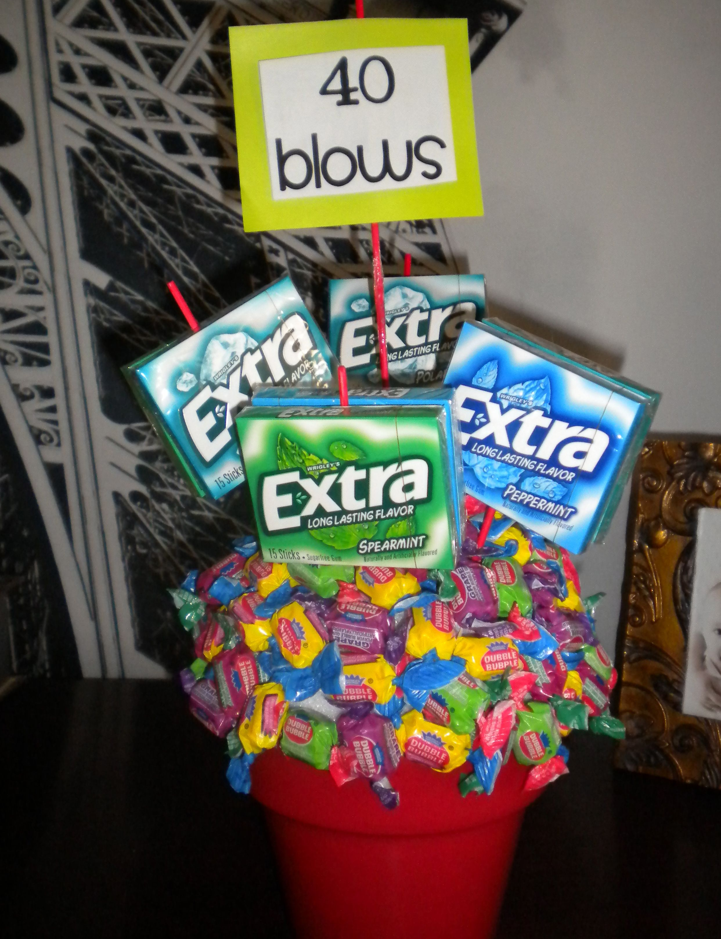 Keep going with the theme.  This was made with double bubble and extra.  I tooth picked the gum into the styrofoam so you could still chew the gum.
