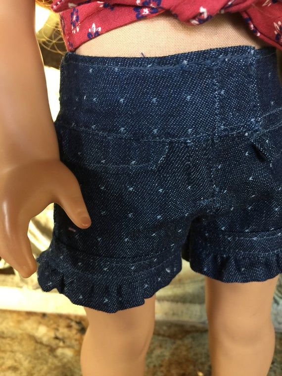 18 inch doll clothes made to fit dolls like the American Girl Doll- tie front shirt-denim shorts-OOAK white, off shoulder Top #18inchdollsandclothes