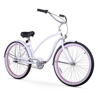 Firmstrong Chief Lady 26 In 3 Speed Beach Cruiser Bicycle White Pink Rims 15174 Products In 2019 Beach Cruiser Bikes Cruiser Bicycle Bicycle