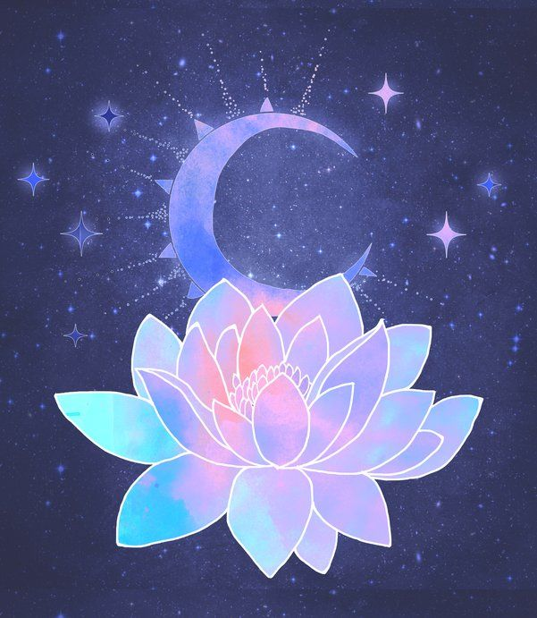 moon lotus flower Mini Art Print by Vitaa(tm)Y=G - Without Stand - 3 x 4