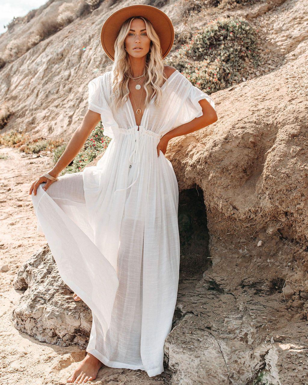 Anika Pocketed Button Down Ruffle Maxi Dress Marshmallow White Boho Dress Summer Dresses For Women Boho Maxi Dress [ 1280 x 1024 Pixel ]