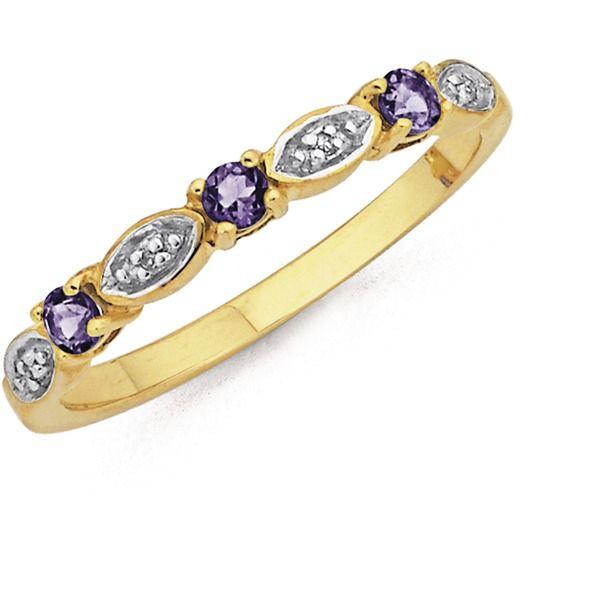 9ct Gold Amethyst Diamond Trilogy Ring