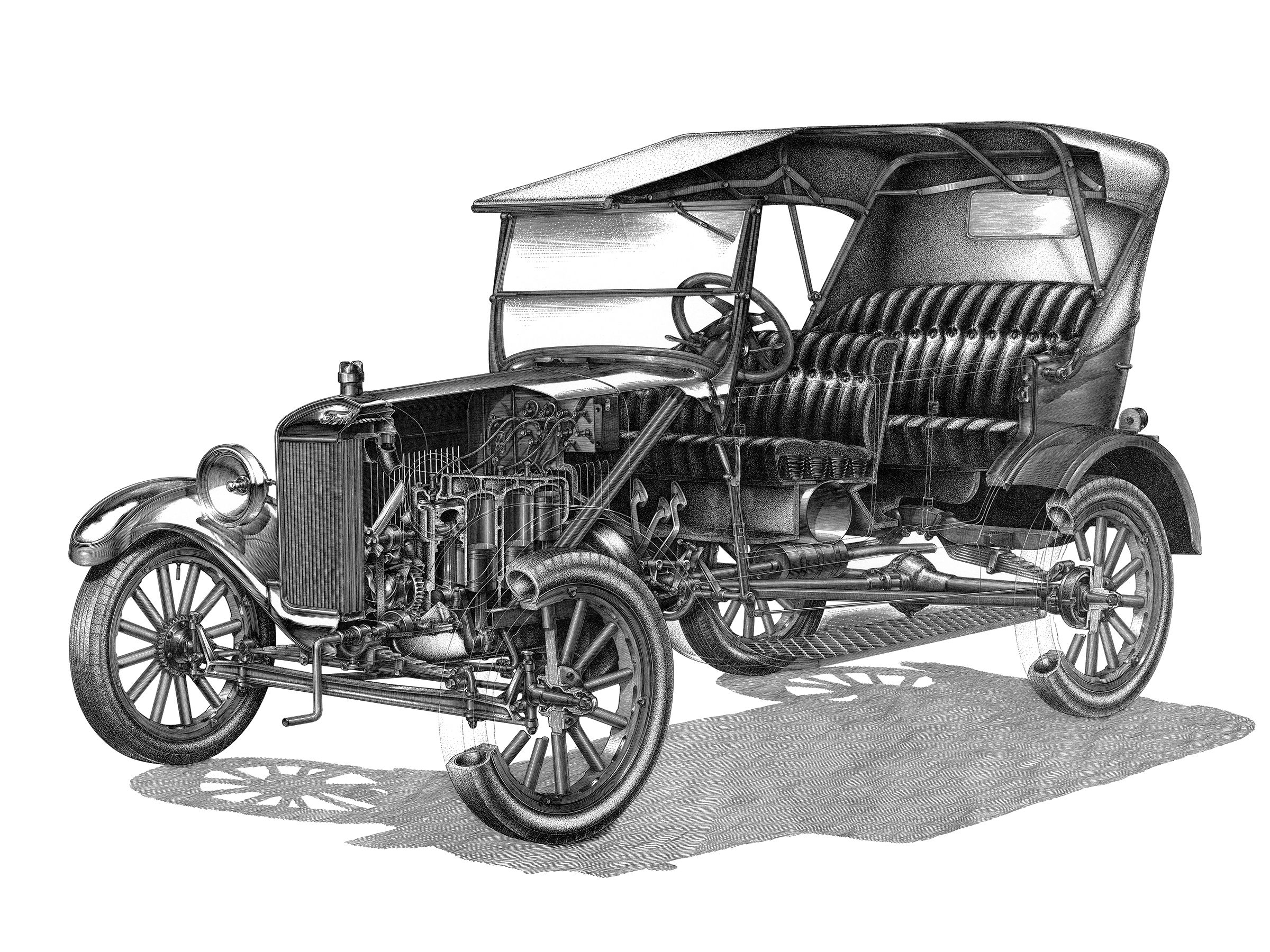1926 Ford Model T Fordor Touring - Illustrated by Yoshihiro Inomoto Model,  Technical Illustrations,