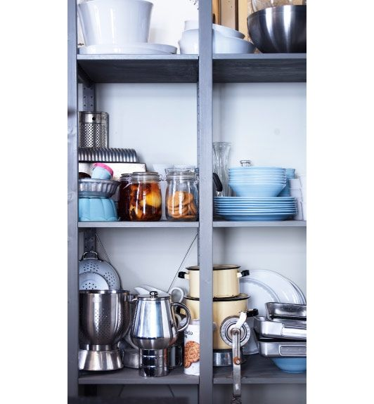 Open Shelving Unit Kitchen: Open Storage With IVAR Shelf Unit That Has Been Painted