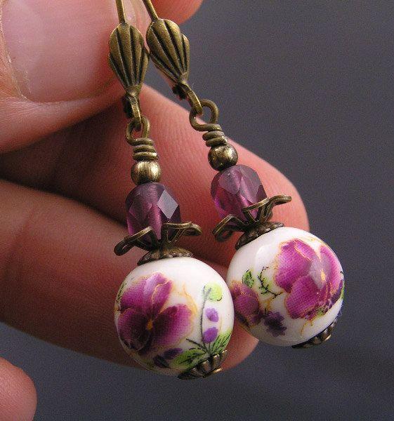 Rose Bead Earrings Flower Earrings Rose Earrings by WedunitJewels
