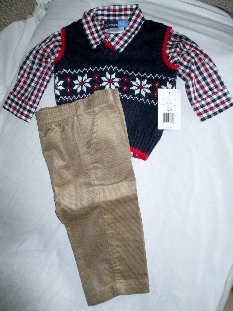 NWT Infant Boys 12 month Snowflake Shirt Vest Pants Holiday Christmas outfit  set #fashion #clothing #shoes #accessories #babytoddlerclothing ... - NWT Infant Boys 12 Month Snowflake Shirt Vest Pants Holiday