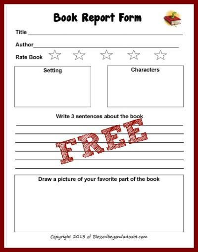 FREE Book Report Form Free books, Homeschool and School - printable book report forms