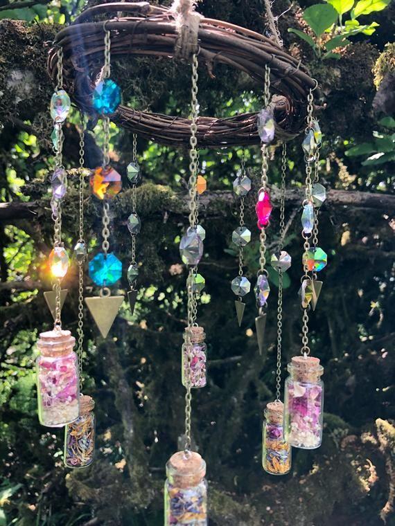 Bohemian Sun Catcher Mobile Chandelier Crystal Prisms Etsy Flores Secas Colector Solar Decoracion De Unas