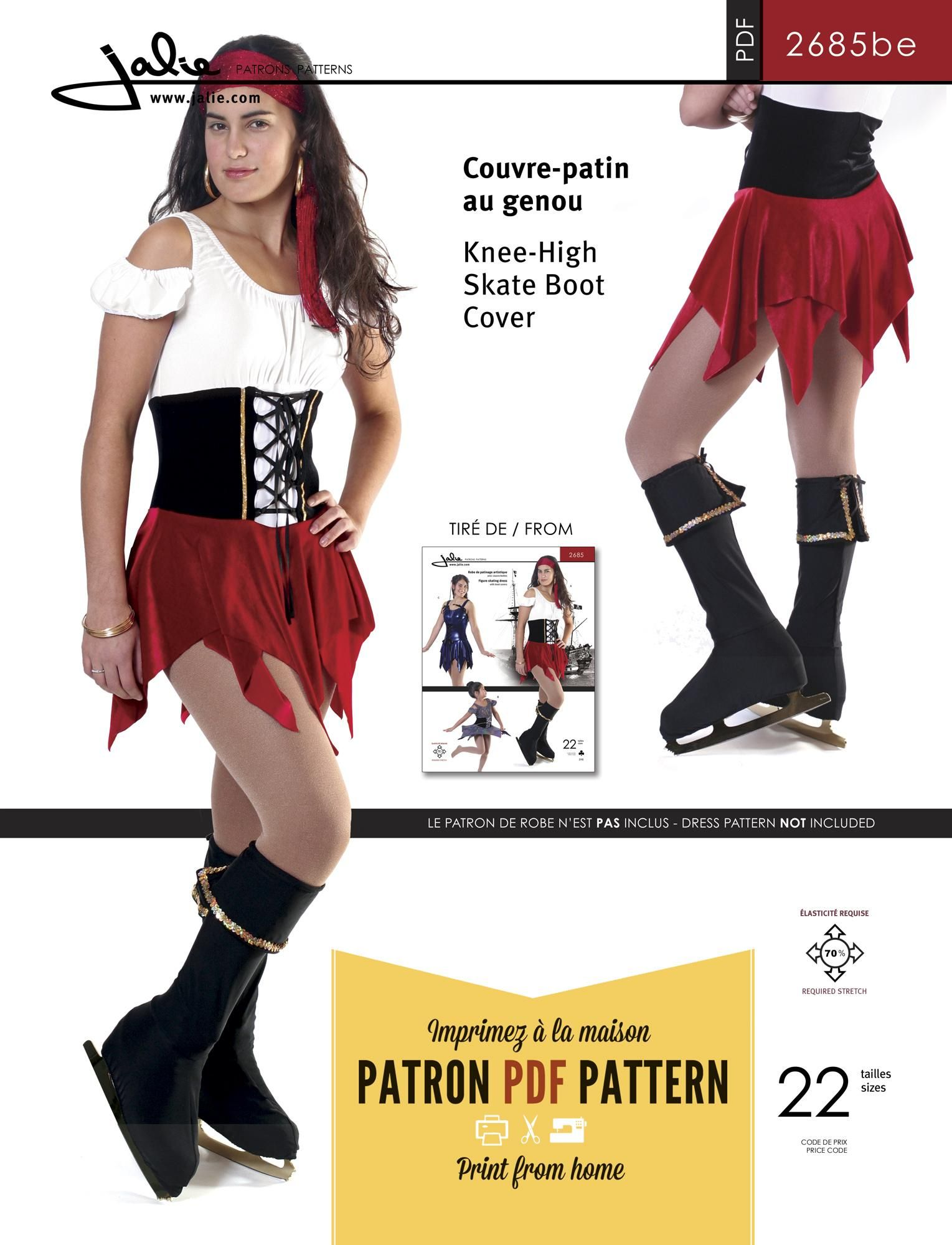 Jalie 2685 - Knee-High Skate Boot Cover PDF Pattern
