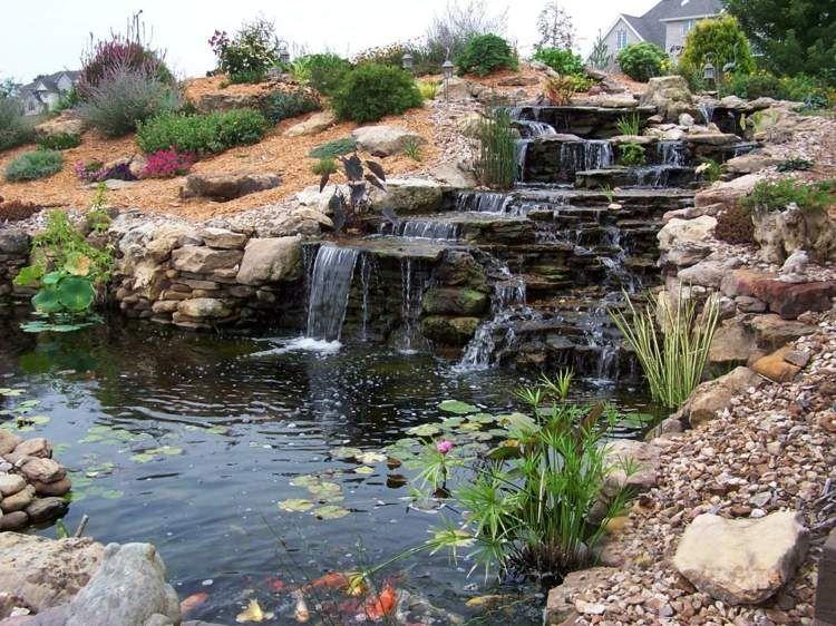 Kaskadenförmiger Wasserfall im Garten - Teich mit Koifischen ...