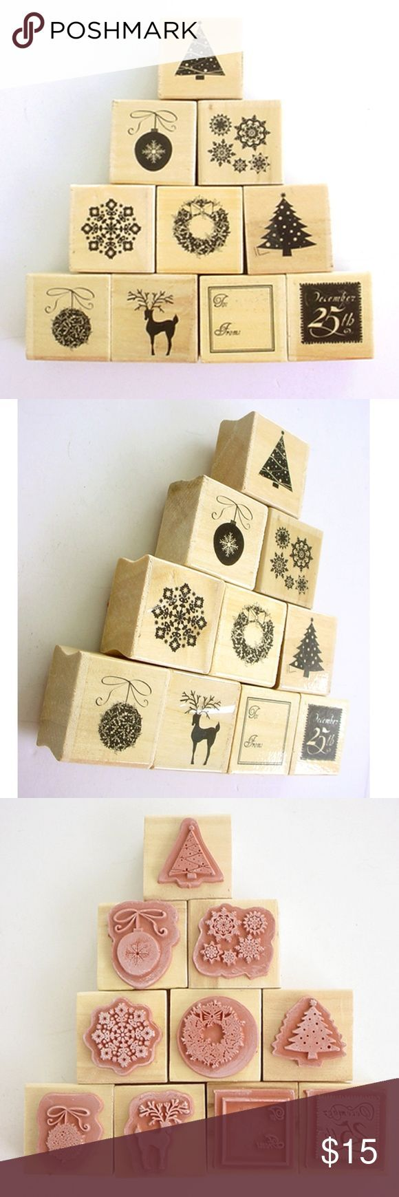 10 Christmas Rubber Stamps Wood Mounted Unused 10 unused wood mounted Christmas ... ,  10 Christmas Rubber Stamps Wood Mounted Unused 10 unused wood mounted Christmas ... ,