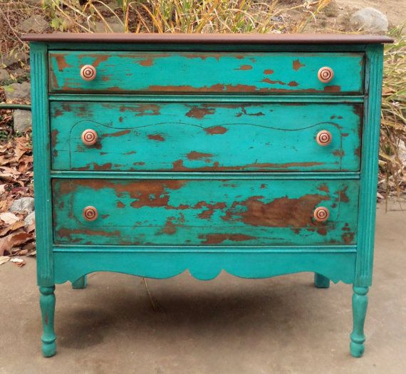 Distressed Turquoise Dresser / Turquoise Painted By TheRusticRiver