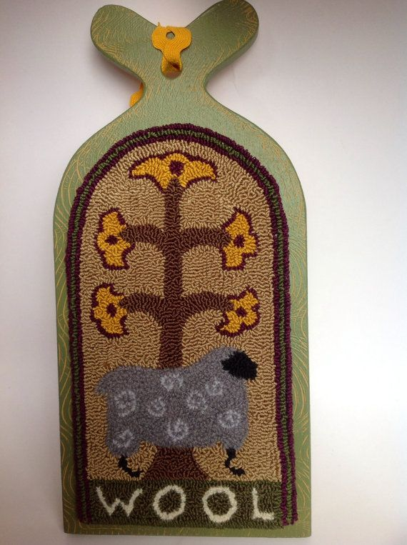 Finished Needle Punch Wool Lamb on Hornbook by PerfectPrimPunch, $29.00