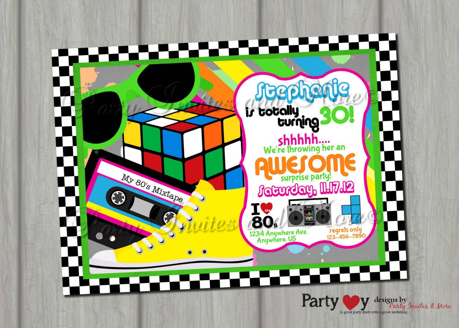 80\'s Surprise Party Birthday Invitation Printable | Kevin\'s 40th ...