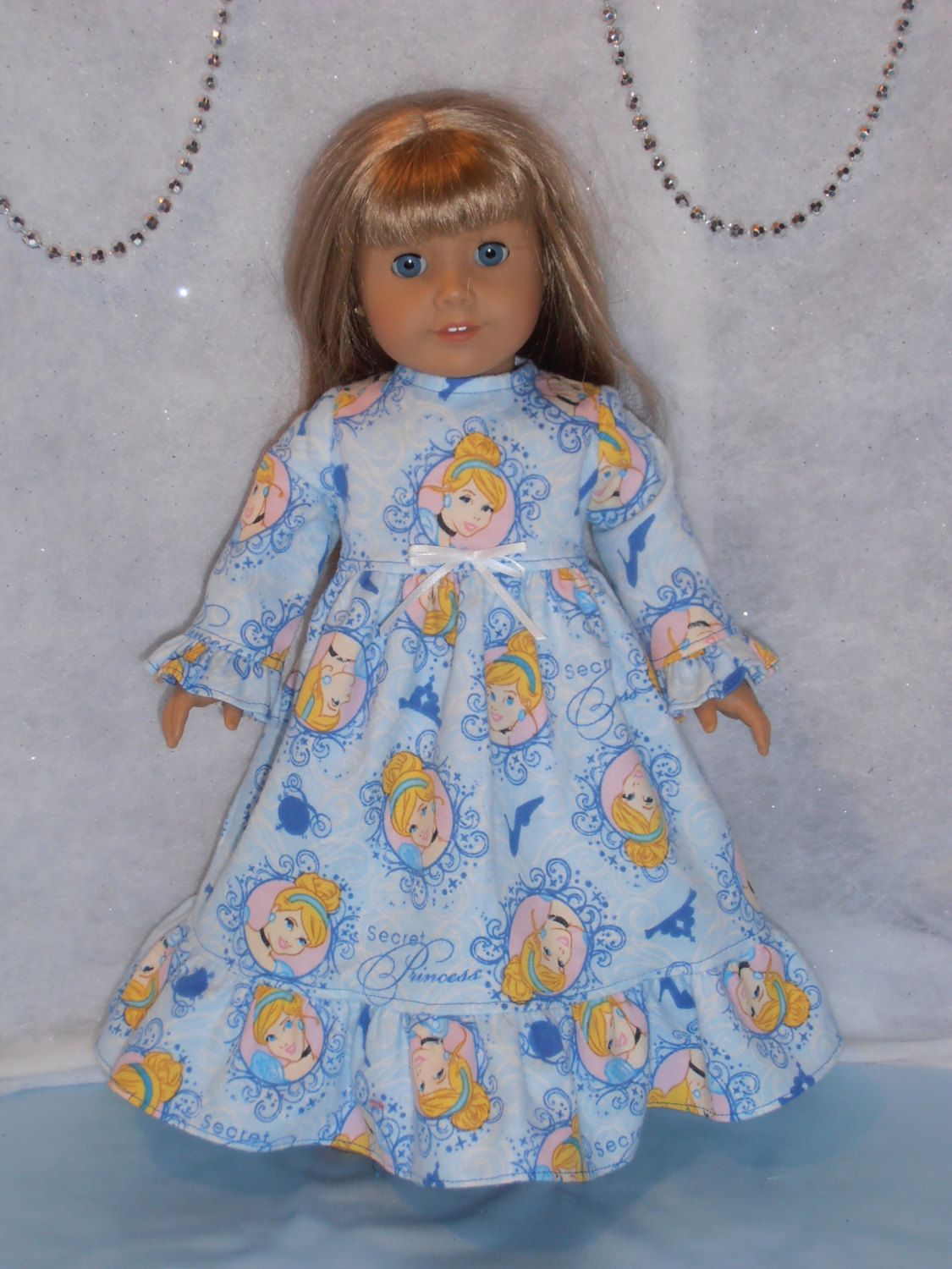 Red flannel nightgown  Princess Flannel Nightgown   inch Doll  Free Shipping by