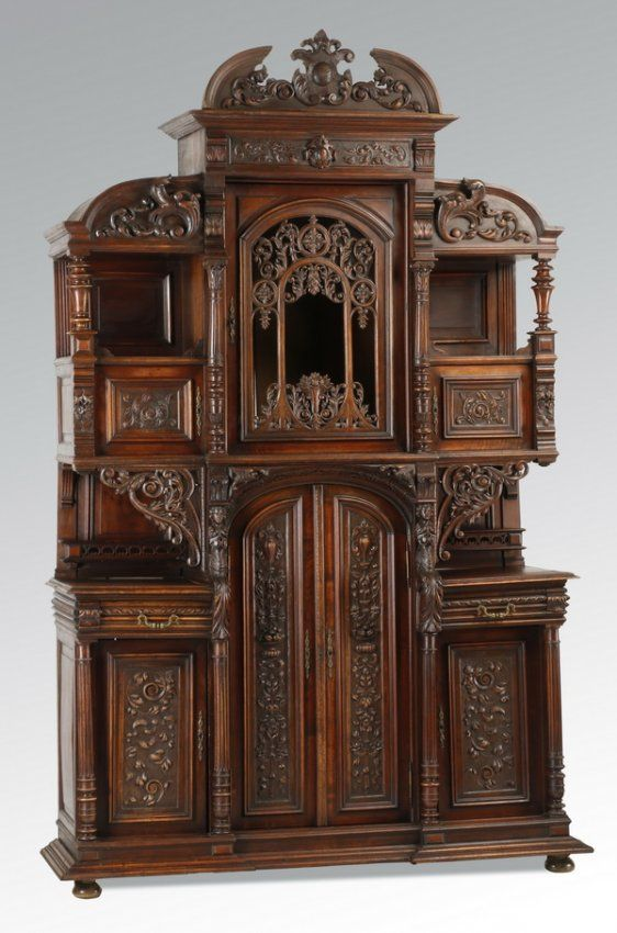 19th C Renaissance Revival Walnut Cabinet Furniture