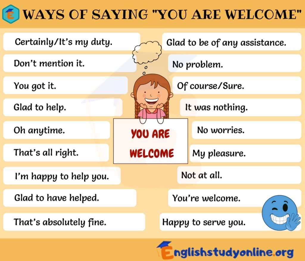 You Re Welcome List Of 45 Useful Ways To Say You Are Welcome English Study Online Good Vocabulary Words Welcome Words Learn English Words