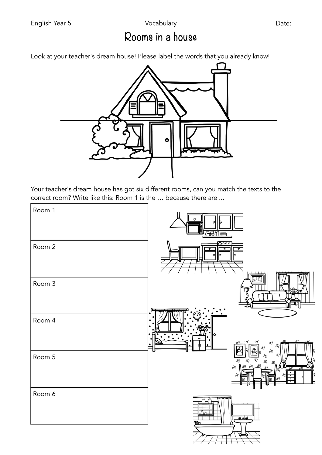 Texts Amp Worksheet Rooms In A House Unterrichtsmaterial