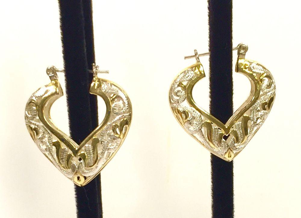 "Two Tone Filigree Heart Hoop Earrings 1 25"" Gold Clad Sterling"