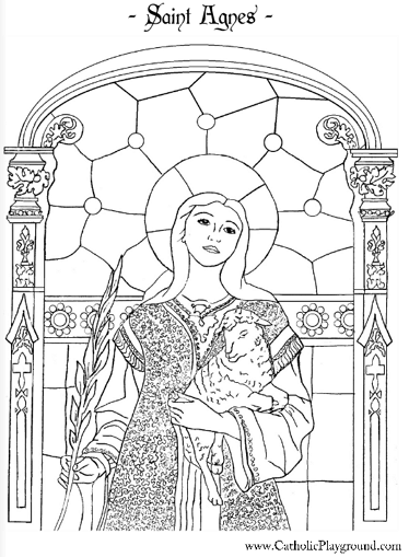 Catholic Saints Coloring Pages : catholic, saints, coloring, pages, Saint, Agnes, Coloring, Page:, January, Catholic, Coloring,, Pages