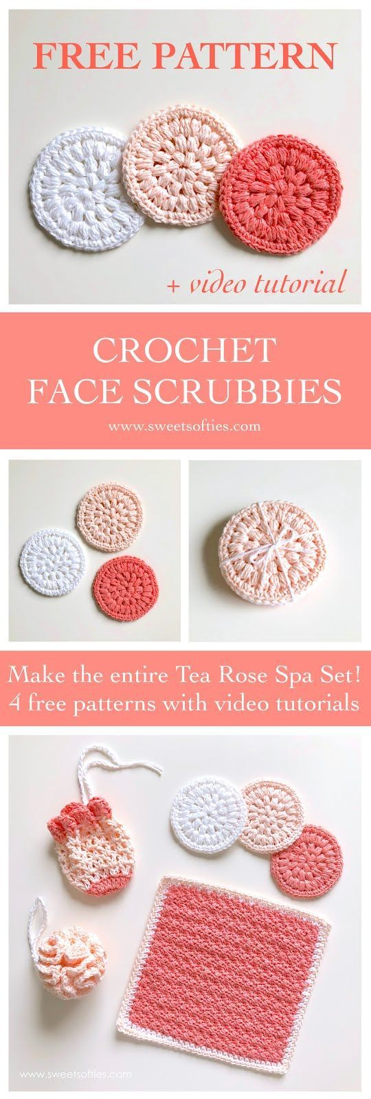 Photo of Free crochet pattern: Face Scrubby from the Tea Rose Spa Set! This collection of…