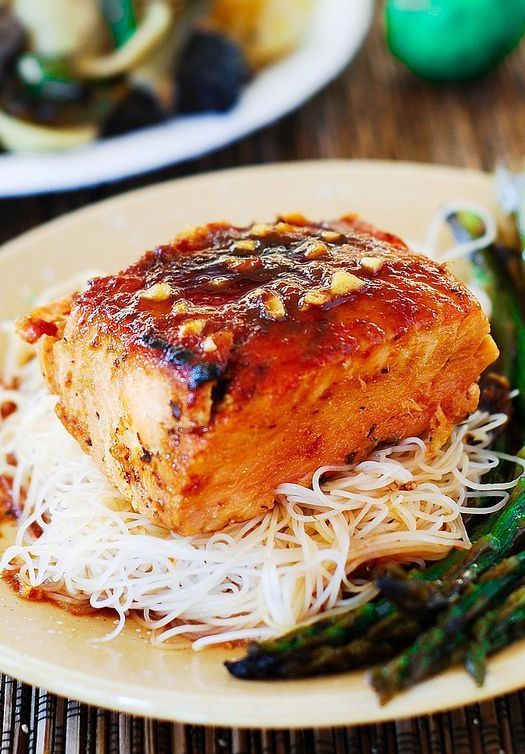 Photo of Honey Sesame Salmon with Rice Noodles and Asparagus