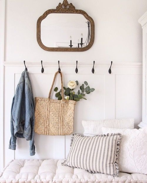 French Country Hallway Ideas Decor: Sweet Little Entry Bench With Wall Hooks. French Country
