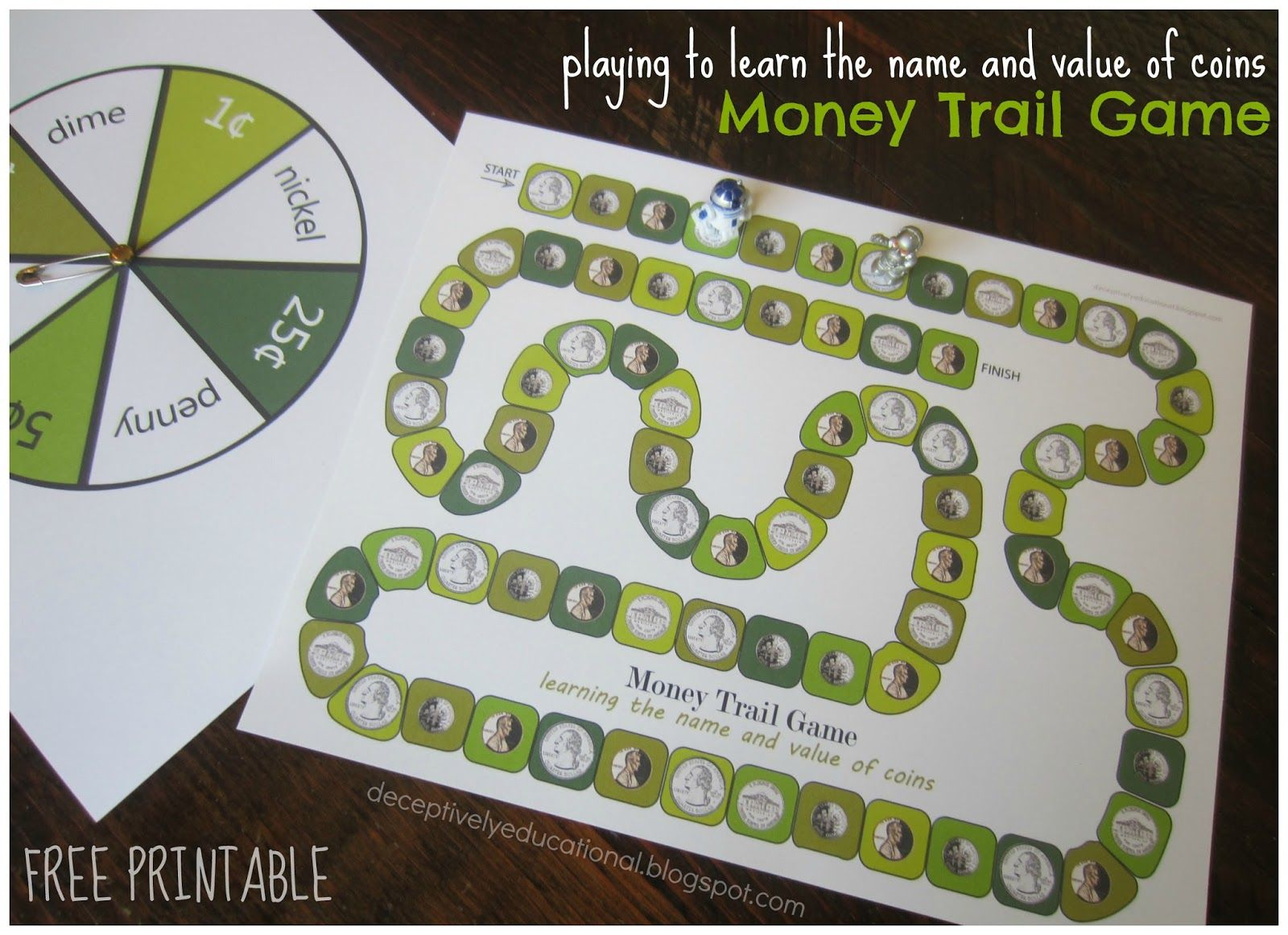Money Trail Board Game Free Printable To Teach Coin Names