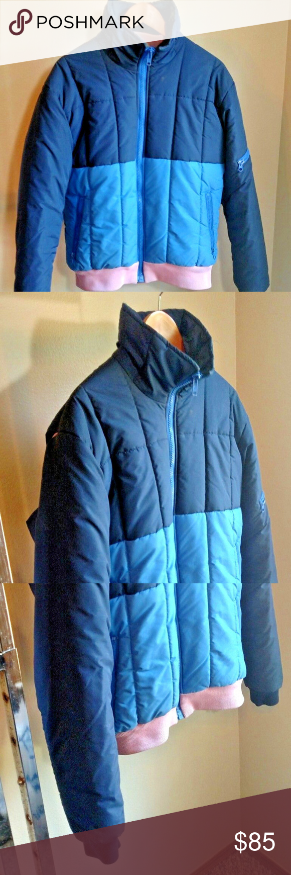 Vtg s ski snow full zip coat rocky mtn thread light blue color