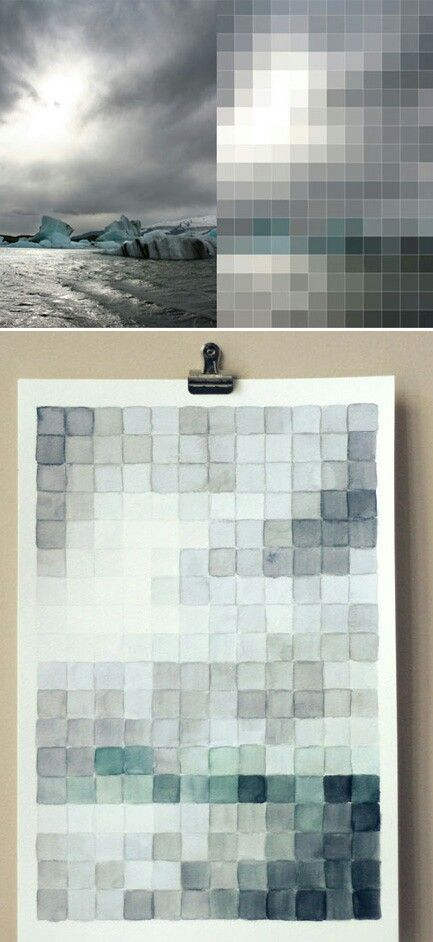 Breaking down an image, watercolor quilt idea, this would be very peaceful. Incorporate the blue and gray already in permanent fixtures, add some coral or pinks for a pop. Sketch an idea first