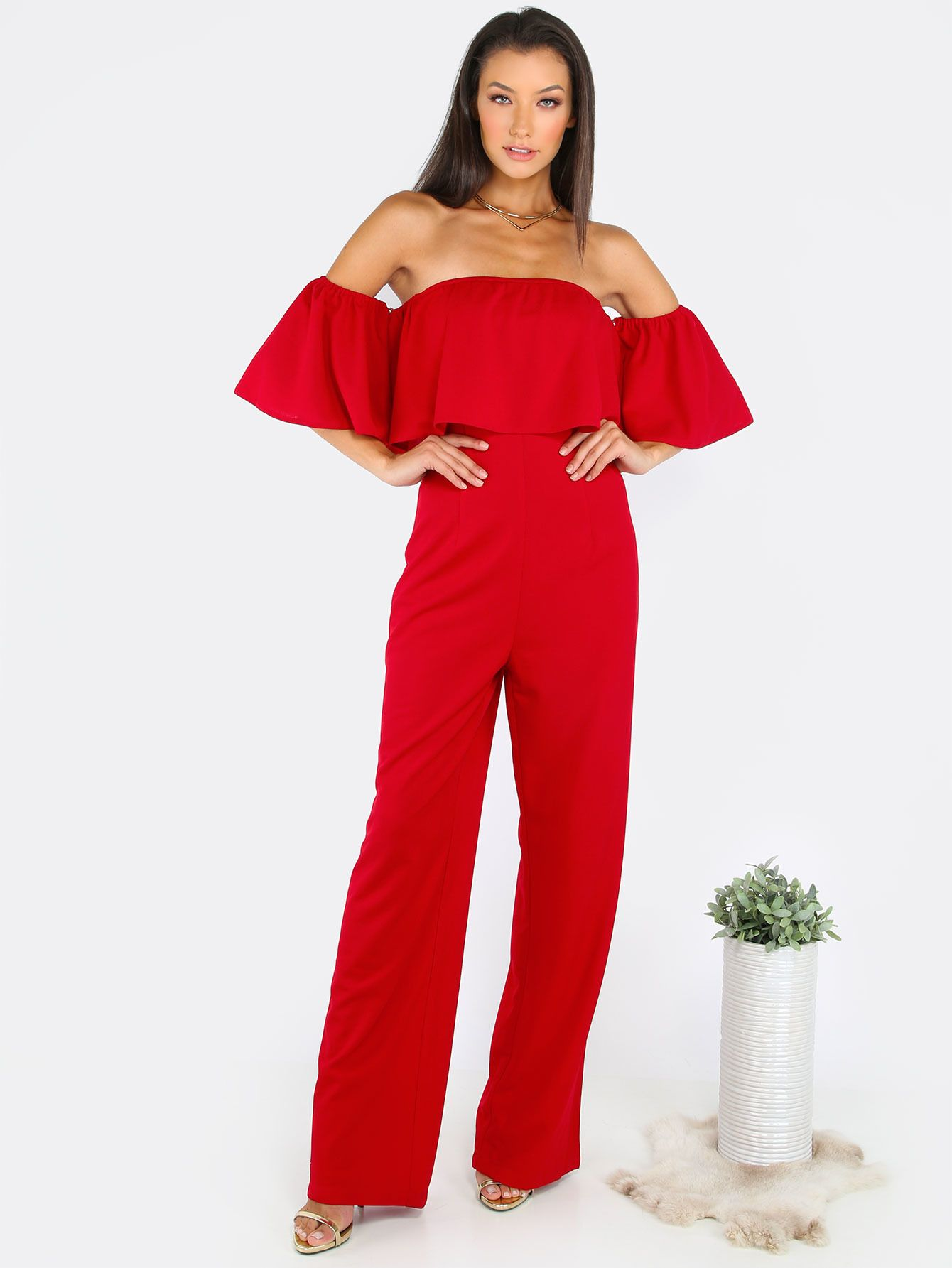 914f3520c24d Online shopping for Off The Shoulder Ruffle Jumpsuit RED from a great  selection of women s fashion clothing   more at MakeMeChic.COM.