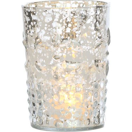 Silver Mercury Glass Votives Wholesale Flower Motif 395 For 1