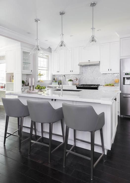 Best Gray And White Kitchen Features Three Glass Cone Shaped 400 x 300