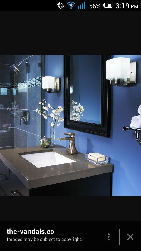 Blue Black And Gray Bathroom Could Paint Walls And Use Black