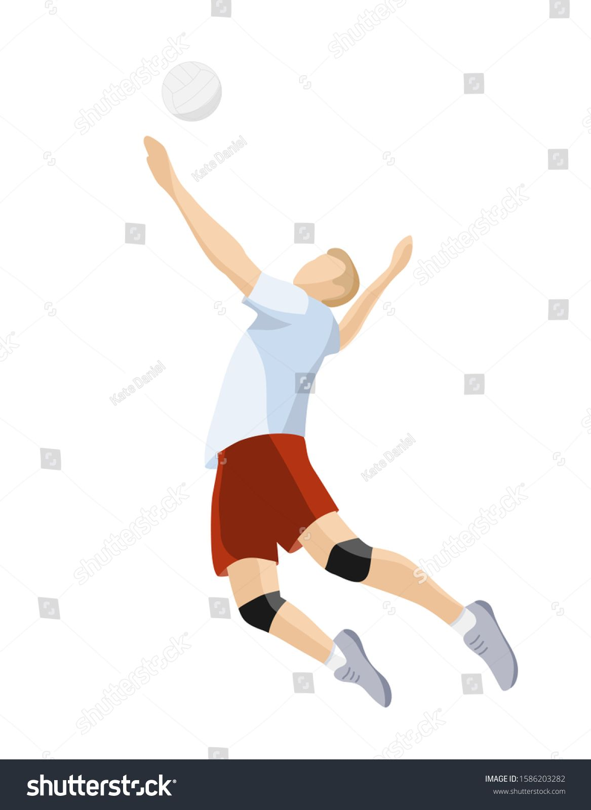 Volleyball Player Hits Ball Isolated On Royalty Free Image Vector In 2020 Volleyball Players Players Volleyball