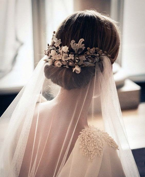 Floral Clip And Veil Wedding Veils Headpieces Bride Hairstyles Wedding Hair And Makeup