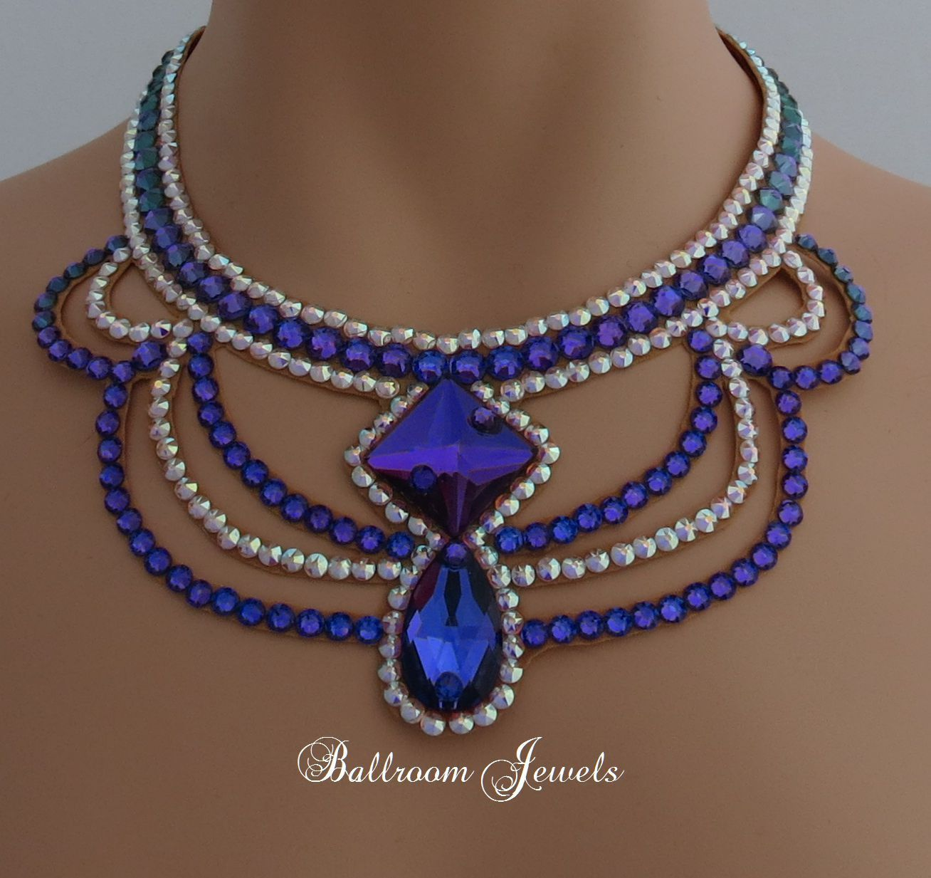 Latin Dance Earrings: Ballroom Square And Pear Heliotrope Purple Necklace