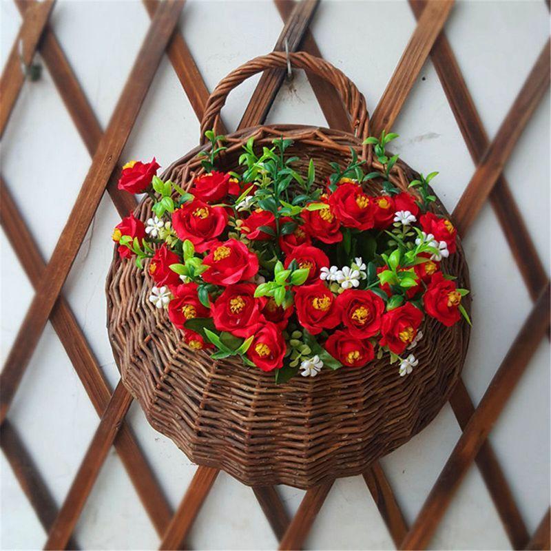Rattan Wall Planter Hanging Plant Pot Basket Flowers Mounted Holder Garden Decor