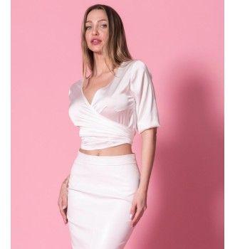 16773f36876 Σατέν Κρουαζέ Πουκάμισο Δετό - Λευκό | SS 2018 | Nostress Fashion ...